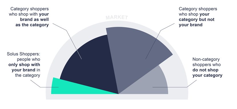 Share-of-wallet-graphic that shows the four main customer groups—Solus Shoppers, Category Shoppers who shop your brand, Category Shoppers who do not shop your brand and Non-category Shoppers.
